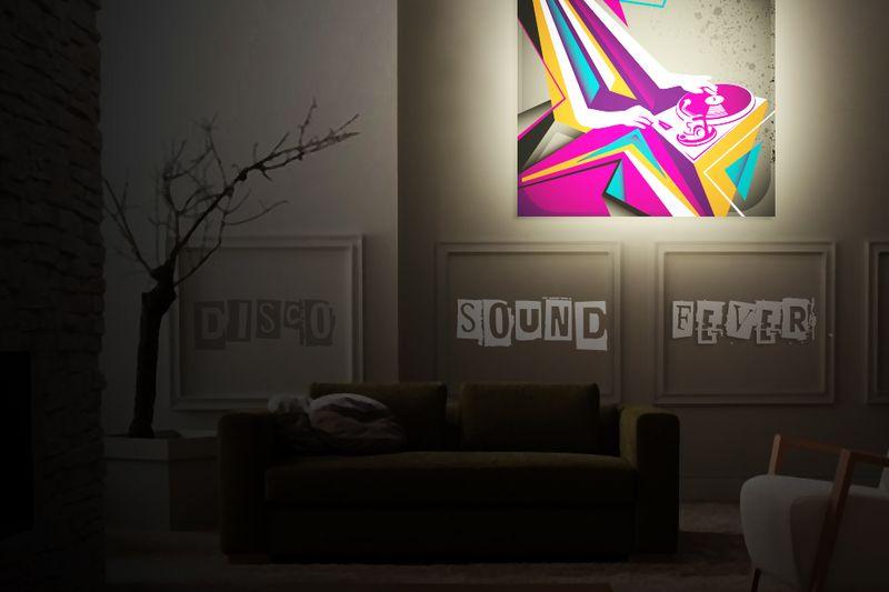 Cadre LED impression bâche sur backlight lettres adhésives semi decoupées